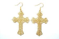 BNWOT Gold Tone Brass Filigree Christian Decorative Cross Hook Earrings