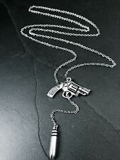 Silver Hand Gun & Bullet Lariat Style Pendant Necklace--Stainless Steel Chain