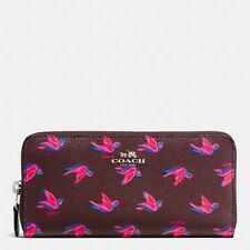 COACH Slim Accordion Zip Wallet Bird Print Burgundy Canvas Valentines Day NEW