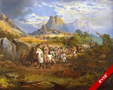NATIVE AMERICAN INDIANS MARCHING PATH TO WAR PAINTING ART REAL CANVAS PRINT