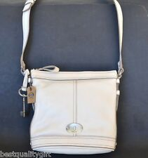 NEW FOSSIL MADDOX WHITE LEATHER+SILVER TONE CROSSBODY,HAND+SHOULDER BAG,PURSE