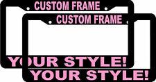 2 CUSTOM PERSONALIZED BLACK LIGHT PINK LETTERS customized License Plate Frame