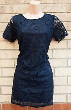 HERAMAY NAVY BLUE CIRCLE SPOTTY LACE PRINT BODYCON TUBE MINI RARE DRESS S M
