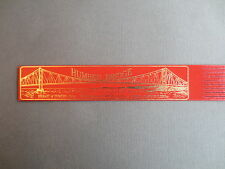 BOOKMARK LEATHER Humber Bridge Statistics Suspension Bridge Hessle RED