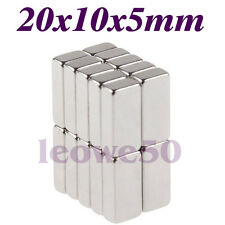 15 X Rectangular Block Magnet 20mm x 10mm x 5mm Rare Earth Neodymium No. 744