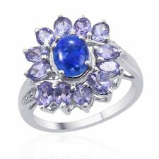 Australian Boulder Opal, Tanzanite, and Diamond Ring 925 Sterling Silver Size 9