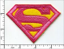 20 Pcs Embroidered Iron on patches Superman Badge Pink/Yellow 8.5x6.5cm AP012eD