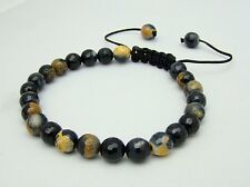 Men's Shamballa bracelet all 8mm  NATURAL Fire Crackle AGATE stone beads