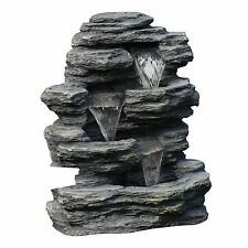 Pure Garden Cascade Rock Outdoor Fountain - Pump Included - Weatherproof
