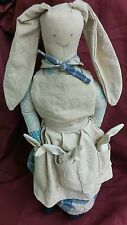 Rag Doll Cloth Bunny Rabbit - Country Dress & Kitchen Apron 3 Babies 17""