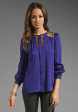 NWT Milly Sheer Inset Silk Blouse Purple Blackberry $265 –Size 6
