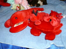 Lot of 4 red plush lobsters & a crab