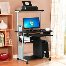 2 Tier Home Office Black Computer Desk w/ Printer Shelf Stand Study Table Stand