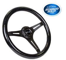 """NRG Steering Wheel Wood Grain 350mm Black Sparkled Color 2"""" Deep ST-015BK-BSB"""