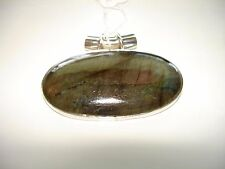 AB Spectrolite Labradorite Oval Cabochon 925 Solid Silver Pendant Necklace 1.25""