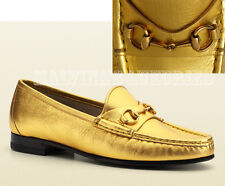 $625 GUCCI SHOES 1953 HORSEBIT LOAFER METALLIC GOLD LEATHER sz IT 38 / US 8
