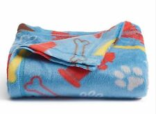 Fleece Throw Blanket Dog Bones Blue 46x56 St Nicholas Sq Supersoft NWt