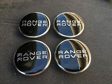 NEW SET OF 4 RANGE ROVER BLACK CENTER WHEEL BLACK EMBLEM BADGE HUB CAPS 4PC