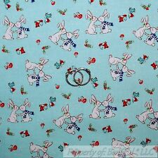BonEful FABRIC FQ Cotton Quilt Blue White Red Easter Bunny Rabbit Mushroom Bird