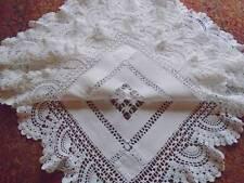 Antiguo de exquisita trabajo de hilo para lino MANTEL ~ dibujado ~ ~ encaje de ganchillo Floral 'B'