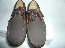 Mens Deck Boat Shoes Lace up Brown Faux Nubuck Suede Brand New Size 8UK 42EU