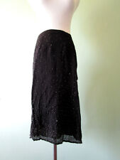 Woman Collection Black Formal Evening Jewel Embellish Beads Knee Skirt sz 12 T95