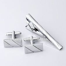 Set Mens Stainless Steel Silver Necktie Tie Clip Bar Clasp Clamp Pin + Cufflinks