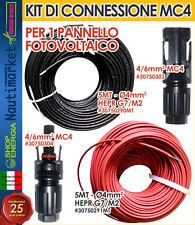 Eursolar Kit connessione 1 Pannello Solare MC4 con 10 mt Cavo solare 4mm #307KIT