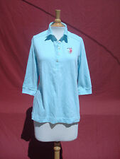 NWT Lacoste Light Blue Cotton 3/4 Sleeve Women Top Blouse 46 USA 14 France $88
