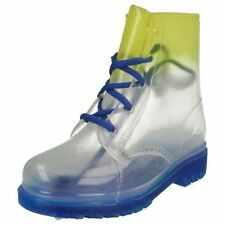 SALE Spot On H4089 Girls Gradient Transparent Lace Up PVC Jelly Ankle Wellies