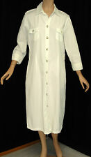 ESCADA SPORT 100% Cotton White Mid Calf Length 3/4 Sleeves Shirt Dress 40 10