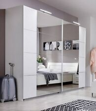 SlumberHaus German Davos Modern 225cm White and Mirror Sliding Door Wardrobe