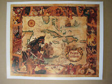 "Disney Pirates Of The Caribbean Map 11"" X 13.5"" Poster Free Poster for 2 or More"