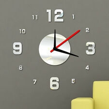 Modern DIY Wall Clock Big 3D Mirror Surface Sticker Home Office Decor Silver