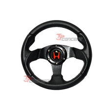 280mm JDM Racing Sport Steering Wheel Black PVC Leather Carbon Fiber Look