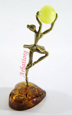 Ballet Ballerina Graceful Brass Figurine Statuette Russian Baltic Amber #273