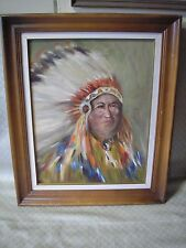 Vintage American Indian Chief Oil Painting Vivid Color