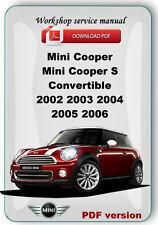MINI Cooper Cooper S Convertible 2002 2003 2004 2005 2006 Workshop repair manual