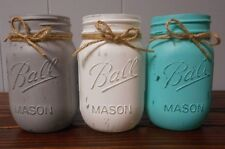 Distressed Painted Mason Jars Rustic Ball Pint Teal White Gray Centerpiece Decor