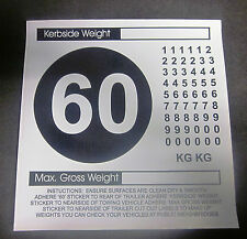 KERBSIDE WEIGHT & 60 MPH WARNING STICKER LABEL KIT - CARAVAN MOTORHOME TRAILER