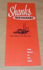 "Vintage MENU~""SHANKS Restaurant""~Lake Delton at the Dells~ Wisconsin~Ephemera~"