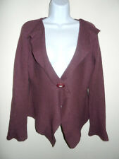 JIGSAW 70% WOOL DARK MAUVE OPEN FRONT CARDIGAN LONG FLARED SLEEVES SWEATER S/M