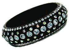 Bangle Bracelet Five Row Black Lucite AB Crystals
