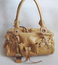 Authentic Alessandro Dell'Acqua Tan Leather Satchel Style Bag, Made In Italy