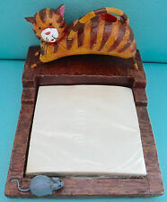 Vtg. Resin Cat + Mouse Pen & Memo Pad or Post-It Note Holder Unused NOS