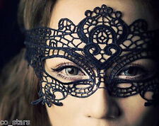 BLACK STUNNING VENETIAN MASQUERADE EYE MASK HALLOWEEN PARTY LACE FANCY DRESS UK