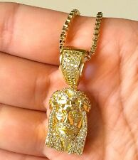 14K Gold Plated Lab Simulated Diamond Mini Micro Jesus Pendant BoxChain Necklace