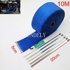 "2"" Blue 10Meter Exhaust Header Fiberglass Heat Wrap Tape+5 Ties Kit"