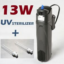 Uv Sterilizer 13W w/Pump Filter for 150gal Aquarium Fish Tank + replacement bulb