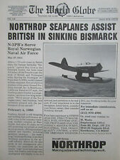 2/1980 PUB NORTHROP SEAPLANE N-3PB ROYAL NORWEGIAN NAVAL AIR FORCE BISMARCK AD